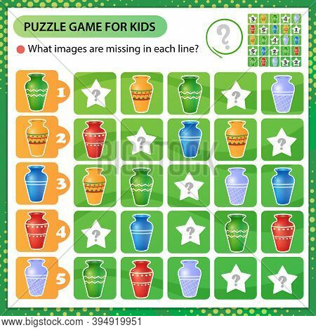 Sudoku Puzzle. What Images Are Missing In Each Line? Multicolored Vases. Logic Puzzle For Kids. Educ