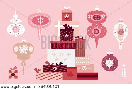 Christmas Set Elements With  Balls, Christmas Toy, Snowflakes. Holidaus  Art  Collection  For  Templ