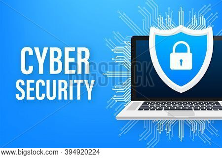 Cyber Security Vector Logo With Shield And Check Mark. Security Shield Concept. Internet Security. V