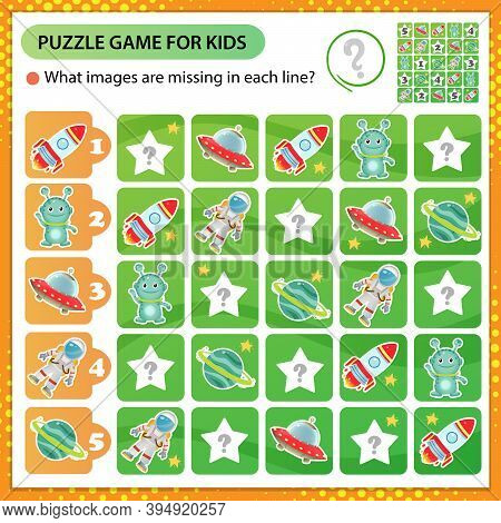 Sudoku Puzzle. What Images Are Missing In Each Line? Space. Logic Puzzle For Kids. Education Game Fo