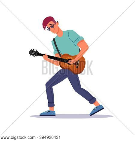 Man Playing Guitar, Guitarist And String Instrument Isolated Flat Cartoon Person. Vector Guy With St
