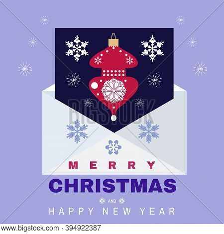 Christmas Letter Concept. Big Envelope With  Christmas Elements  And Snowflakes .  Mailbox. Correspo