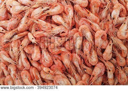 Shrimps. The Fish Market. Shrimps Background Texture. A Lot Of Sea Shrimp.