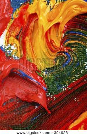 artists abstract oil painting showing vibrant colors texture and flow. poster