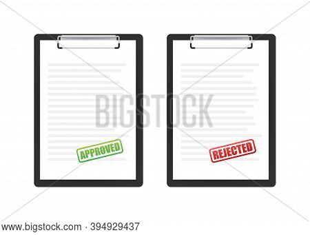 Approved And Rejected Rubber Stamp On Document, Green And Red Color. Vector Illustration.