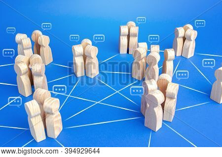 Communicating Groups Of People Are Connected By Lines. A Company With A Modified Hierarchical System