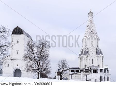 Moscow, Russia - February 14, 2018: Kolomenskoye Museum Estate. Tent Church Ascension In Royal Patri