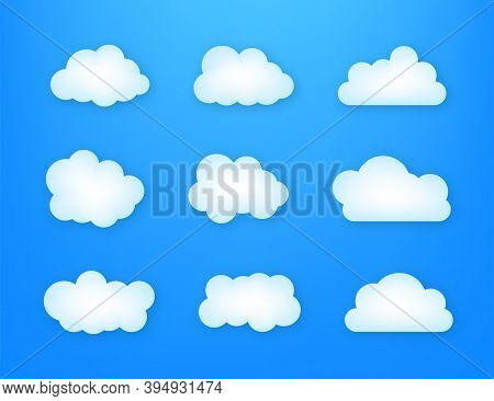 Set Of Blue Sky, Clouds. Cloud Icon, Cloud Shape. Set Of Different Clouds. Vector Illustration.