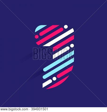 Fast Speed J Letter Logo With Incline Lines And Dots. Vector Template Perfect To Use In Your Sport T