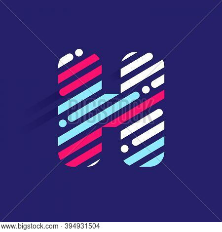 Fast Speed H Letter Logo With Incline Lines And Dots. Vector Template Perfect To Use In Your Sport T