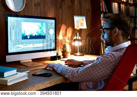 Male Videographer Editor Film Maker Using Pc Computer Editing Video Footage Visual Content Working O