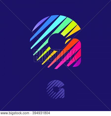 G Letter Logo With Multicolor Diagonal Lines. Fast Speed Vector Template For Your Sport Team Identit