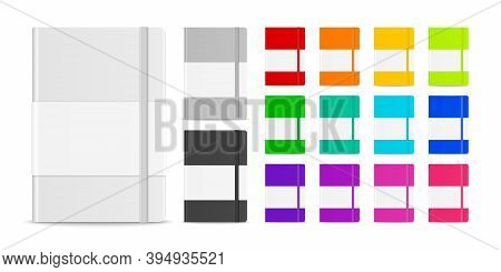 Vector 3d Realistic Closed Blank Paper Notebook Set Isolated On White Background. Design Template Of