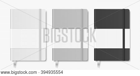 Vector 3d Realistic White, Gray, Black Closed Blank Paper Notebook With Bookmark Set Isolated On Whi