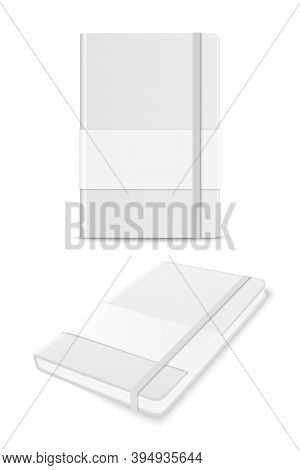 Vector 3d Realistic White Closed Blank Paper Notebook With Label Set Isolated On White Background. D