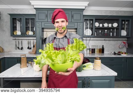 Green Salad Contains Many Nutrients. Chef Cook Green Salad. Add To Your Diet. Health Benefits Of Sal