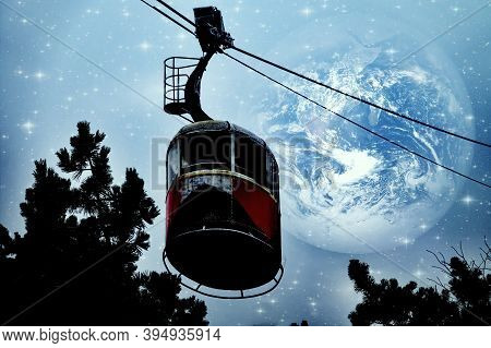Cable Car On Background Of Night Sky And Planets. Space Abstract Landscape On A Tourist Theme. Eleme
