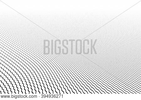 Abstract Zig Zag Lines Striped Pattern. White Textured Background. Diminishing Perspective View. Vec