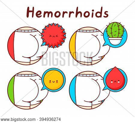 Human Ass In Panties Set Collection. Isolated On White Background. Vector Cartoon Character Illustra