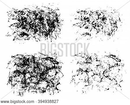 Set Of Expressive Textured Black Ink Or Watercolor Stains With Little Lines, Dots And Drops. Mysteri