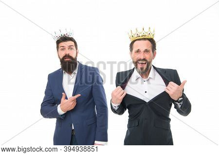 Im Big Boss. Big Boss Men Isolated On White. Bearded Men Wear Crowns. Businessmen Or Directors. Big