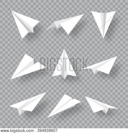 Realistic Handmade Paper Planes Collection On Transparent Background. Origami Aircraft In Flat Style