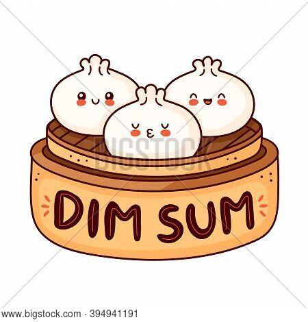 Cute Happy Smiling Dim Sum Logo. Vector Flat Cartoon Character Illustration Icon Design. Asian,chine