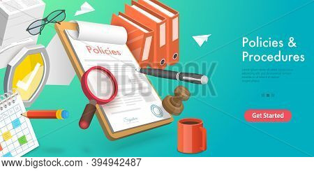 3d Vector Conceptual Illustration Of Policies And Procedures