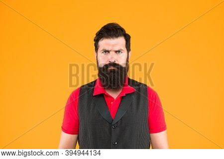 Hospitality Staff. Restaurant Cafe Staff Wanted. Man Bearded Hipster With Mustache Wear Vest And Shi