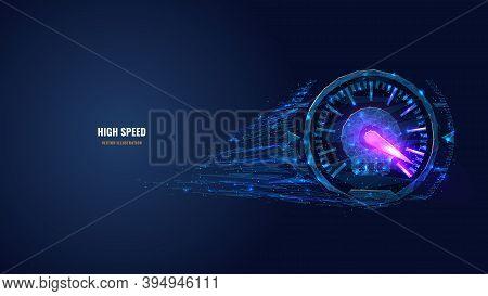 Digital Low Poly 3d Speedometer In Dark Blue. High Speed, Sport Car Speedometer Or Racing Game Conce