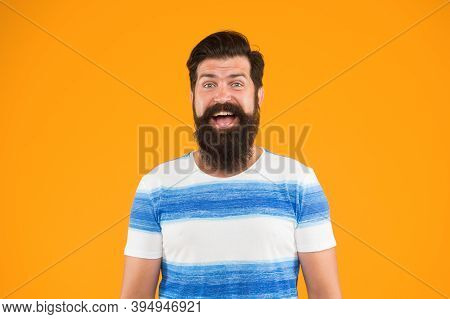 Guy Dressed Striped Shirt On Summer Vacation. Barbershop Concept. Man Bearded Hipster With Mustache