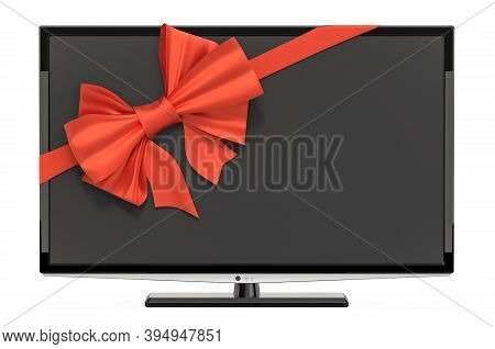 Modern Tv Set With Ribbon And Bow, Gift Concept. 3d Rendering Isolated On White Background