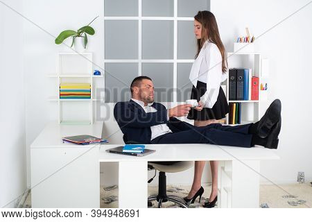 Sexy Businesswoman. Provocative Clothes Office Worker. Office Manager Or Secretary. Personal Secreta