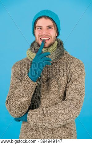 Guy Feel Warm And Comfortable. Male Knitwear Fashion. Men Knitted Cloth And Accessory. Male Blue Bac