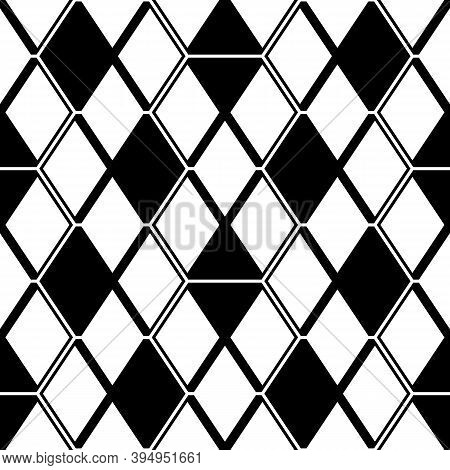 Seamless Mosaic Pattern. Rhombuses Ornament. Lozenges Grid Background. Ancient Ethnic Motif. Grate W