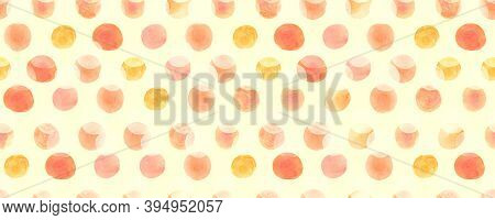 Seamless Wrapping Paper Pattern. Red Grunge Polka Dots Ornament. Yellow Watercolour Dots. Abstract R