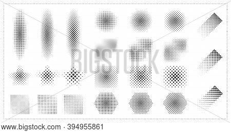 Abstract Halftone Geometric Element Design Artwork Decorative Set. Decorate For Ad, Poster, Artwork,