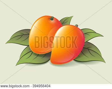 Two Ripe Mango On A Light Background. Ripe Fruits With Leaves. Organic Exotic Products Illustration.