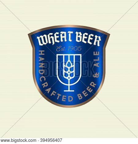 Wheat Beer Logo. Beer Pub Or Old Brewing Company Emblem. Spikelet In A Beer Glass Like A Blue Herald