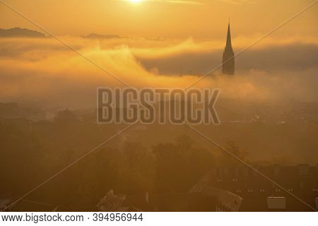 Cityscape Of Graz With Church Of The Sacred Heart Of Jesus And Historic Buildings, In Graz, Styria R
