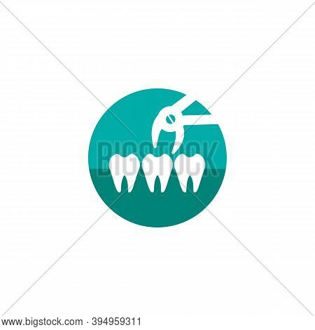 Tooth Extraction Icon. Dental Extraction Forceps Sign. Vector Illustration In A Flat Style, Isolated