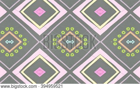 Colorful Tribal Ornament. Gray American Ethnic Wallpaper. Hand Drawn Batik Motif. Geometric Bohemian