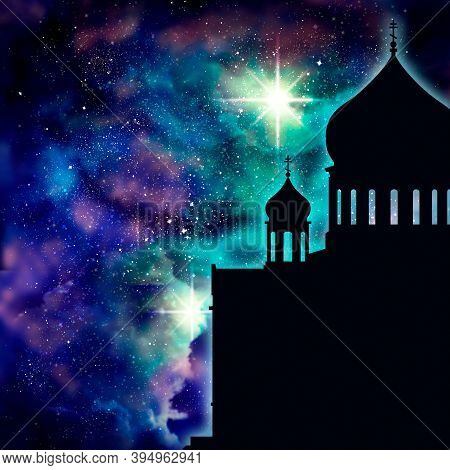 Cathedral Of Christ The Savior In Moscow. Simple Silhouette. Universe Filled With Stars.