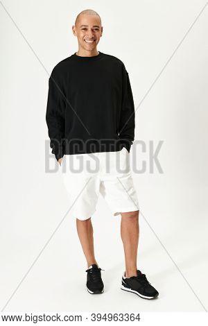 Happy man in a black sweatshirt mockup