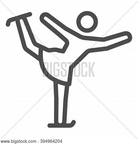 Figure Skater Performs Exercise Line Icon, Winter Sport Concept, Figure Skating Symbol On White Back