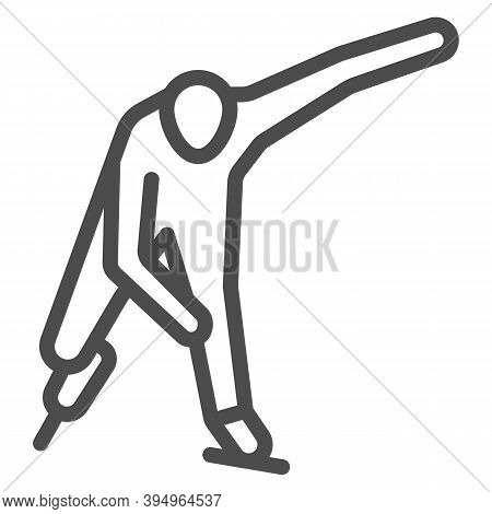 Skater Line Icon, Winter Sport Concept, Speed Ice Skating Sign On White Background, Ice Skater Icon