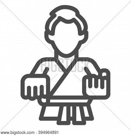 Karate Teacher Line Icon, Self Defense Concept, Karate Kick Sign On White Background, Martial Arts M