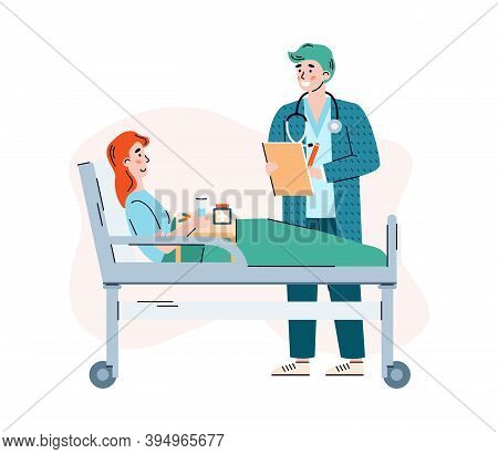 Attending Doctor Talking To Patient In Hospital Ward, Flat Cartoon Vector Illustration Isolated On W