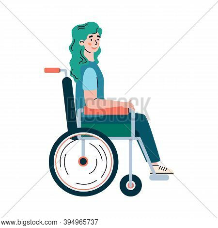 Young Disabled Woman Cartoon Character In Wheelchair, Flat Vector Illustration Isolated On White Bac