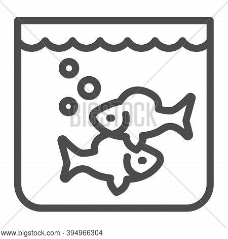 Aquarium With Fish Line Icon, Fish Market Concept, Underwater Aquarium House Sign On White Backgroun